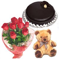 Valentine's Day Cake and flowers to Bangalore Same Day Delivery